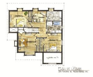 Dovetail Log home 2nd floor Hyppolite