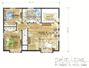 Dovetail model log home 2nd floor Tremblant
