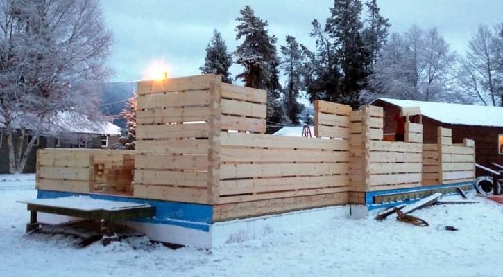 The Bonhomme Cabin under construction
