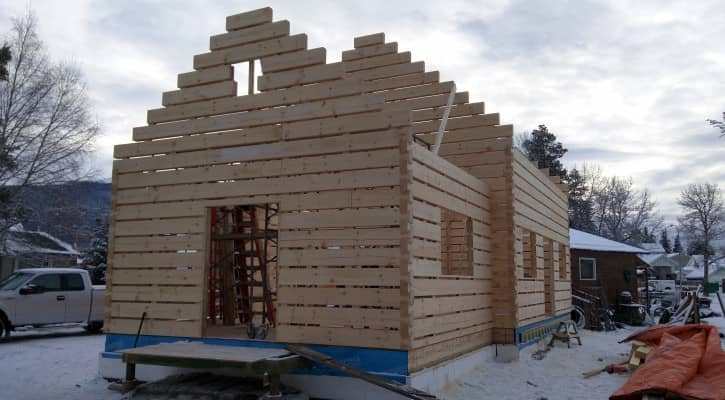 The Bonhomme Cabin under construction